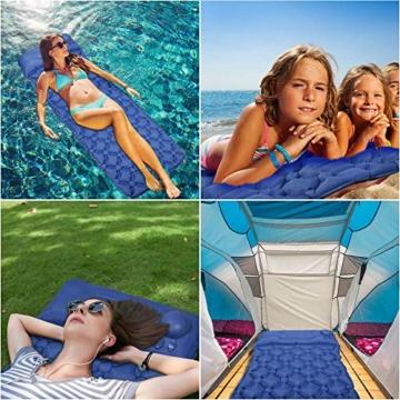 EZILIF Isomatte Selbstaufblasend Kompressionsdesign Camping Schlafmatte Outdoor Aufblasbar Isomatten Ultraleicht Luftmatratzen für Camping, Reise, Wandern, Schwimmbad - 7