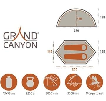 Grand Canyon Cardova 1 - leichtes Zelt, 1 - 2 Personen, für Trekking, Camping, Outdoor, Festival mit kleinem Packmaß, einfacher Aufbau, Wasserdicht, olive/schwarz, 302009 - 2