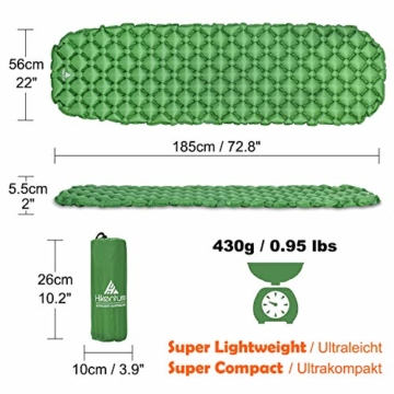 Hikenture Adult hiken02 Kleines Packmaß Ultraleichte Aufblasbare Isomatte-Sleeping Pad für Camping, Reise, Outdoor, Wandern, Strand (Grün), Kissen, 1 - 2