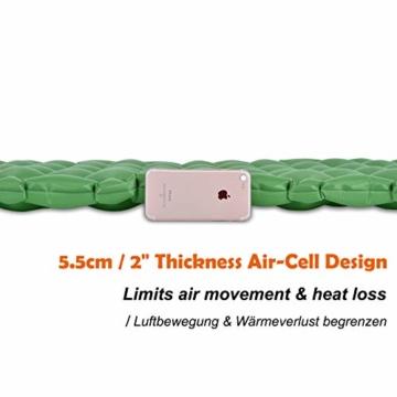 Hikenture Adult hiken02 Kleines Packmaß Ultraleichte Aufblasbare Isomatte-Sleeping Pad für Camping, Reise, Outdoor, Wandern, Strand (Grün), Kissen, 1 - 4