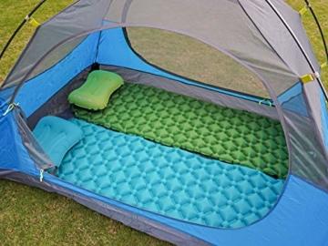 Hikenture Adult hiken02 Kleines Packmaß Ultraleichte Aufblasbare Isomatte-Sleeping Pad für Camping, Reise, Outdoor, Wandern, Strand (Grün), Kissen, 1 - 6