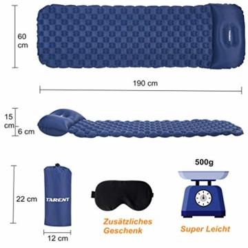 Tarent Isomatte/Aufblasbare Luftmatte Ultraleicht Kleines Packmaß, Camping Matratze und Isomatten, Schlafmatte für Outdoor, Reise, Strand - 2